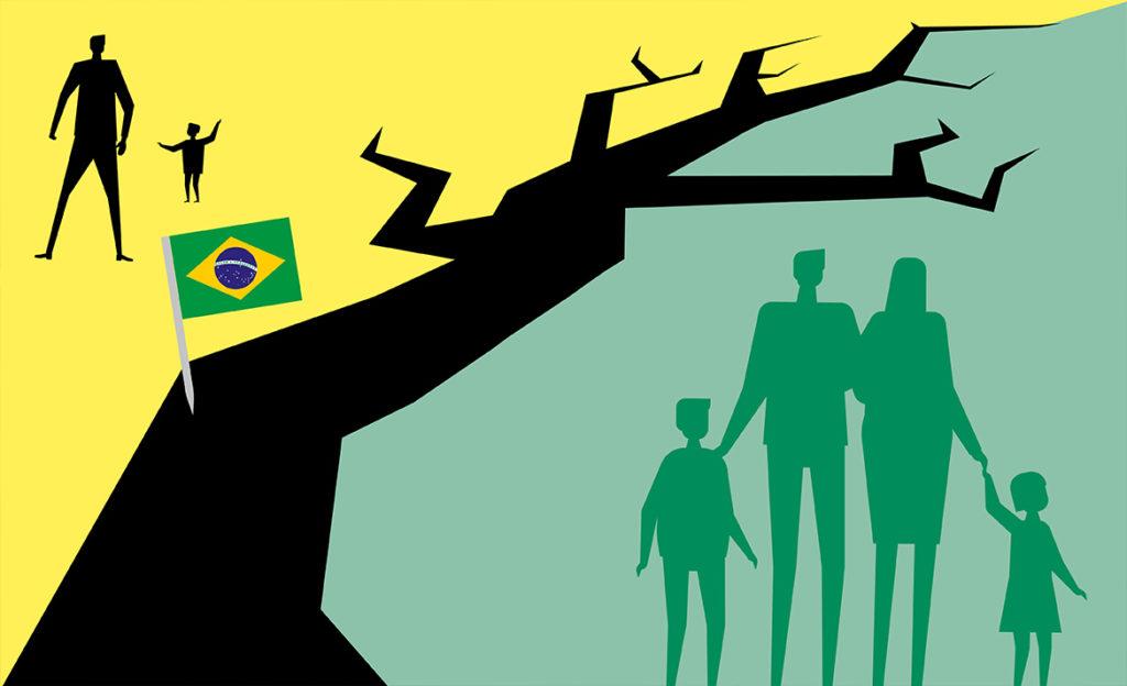 Kuvassa on railo tai puu jonka toisella puolella hyvinvoiva perhe ja toisella puolella yksinäiset hahmot. Lisäksi Brasilian lippu.