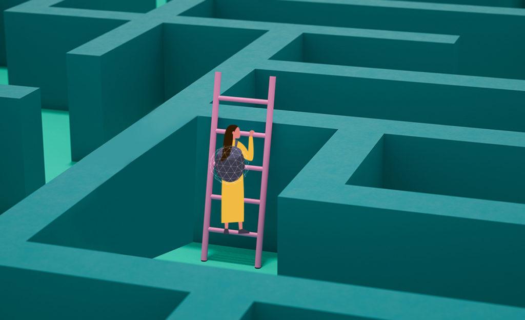 Kuvassa henkilö on kiivennyt tikapuille keskellä labyrinttia, jossa joka puolella nousee seinä vastaan.