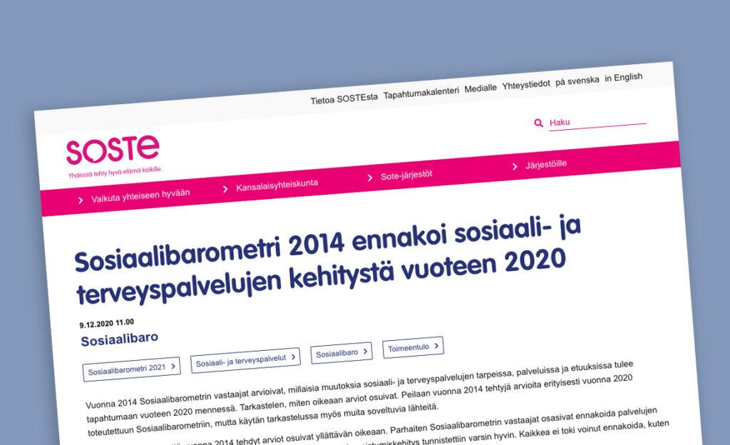 Sinisellä pohjalla ruutukaappaus SOSTE ry:n verkkosivujen artikkelista, johon tämä juttu perustuu.