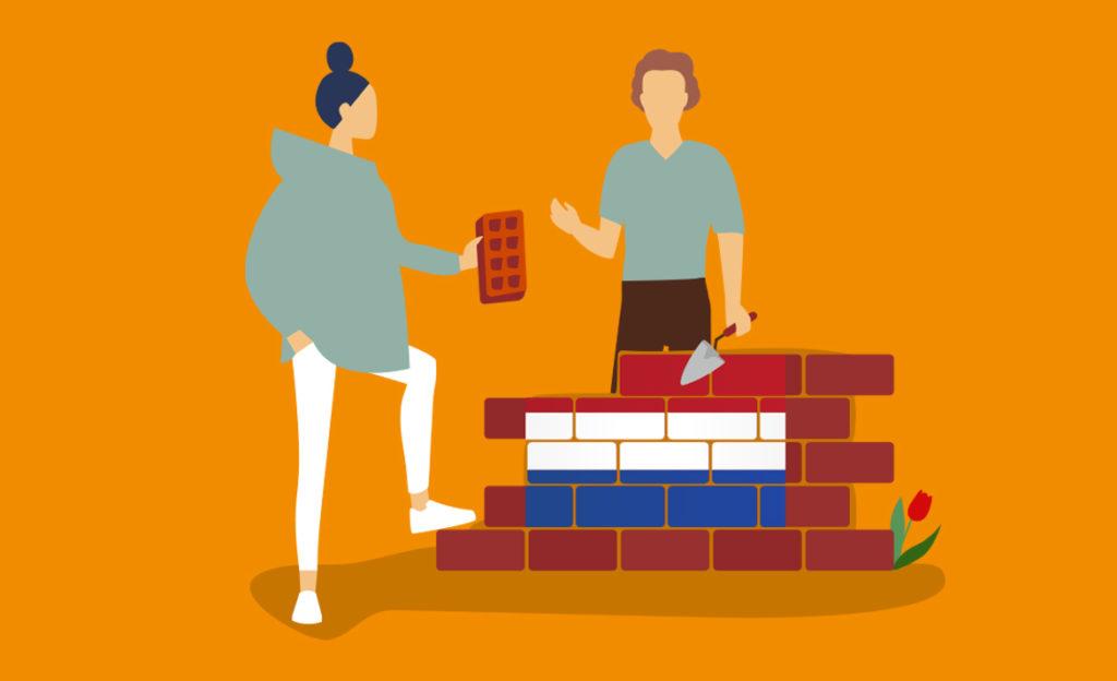 Kuvassa kaksi henkilöä muuraavat talon seinää. Seinään muodostuu Hollannin lippu.