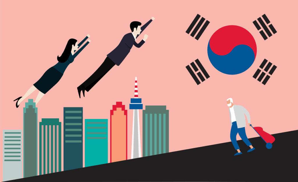 Pukuun pukeutunut mies ja jakkupukuinen nainen lentävät teräsmiehen tavoin korkeuksiin samalla kun vanha mies kassin kanssa kävelee mäkeä alas. Taustalla suurkaupungin siluetti.