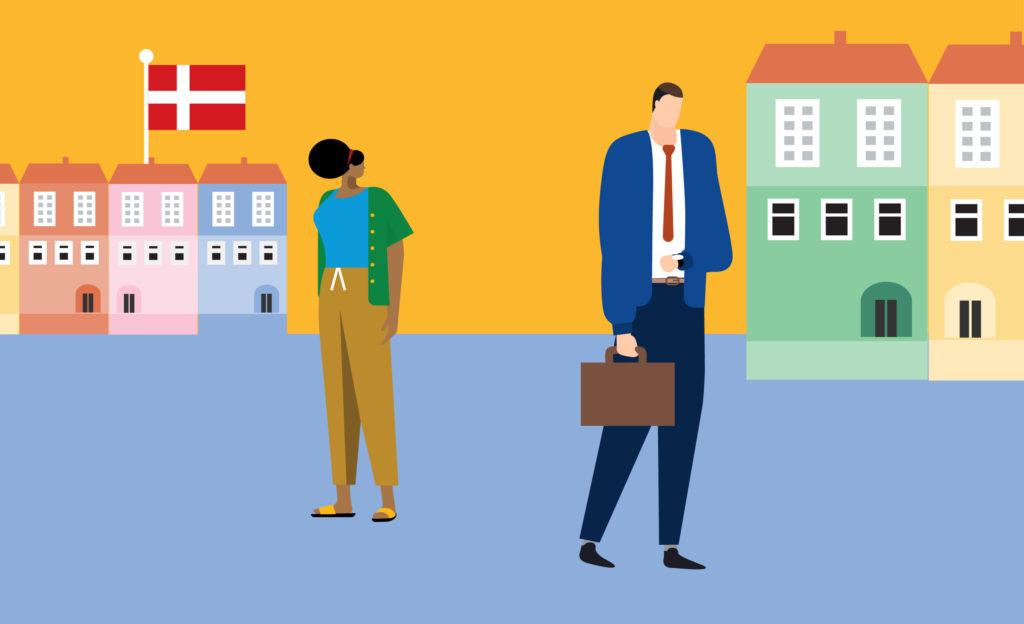 Kaksi henkilöä kadulla, kävelee eri suuntiin. Taustalla Kööpenhaminaa muistuttava kaupunki värikkäine taloineen. Yhden talon katolla Tanskan lippu.