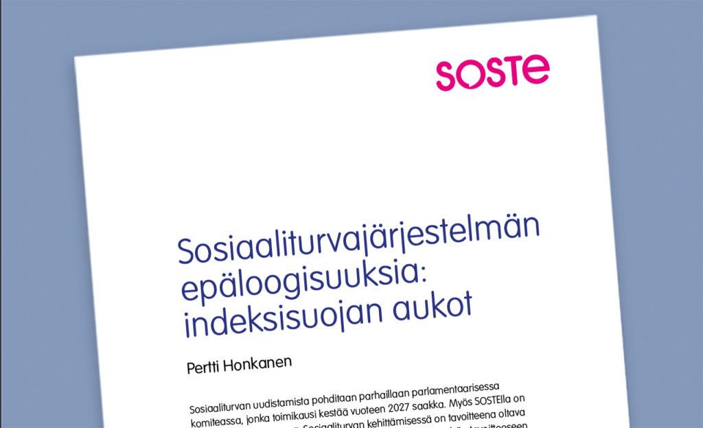Kuvassa on ote Sosten julkaisemasta raportista Sosiaaliturvajärjestelmän epäloogisuuksia: indeksisuojan aukot