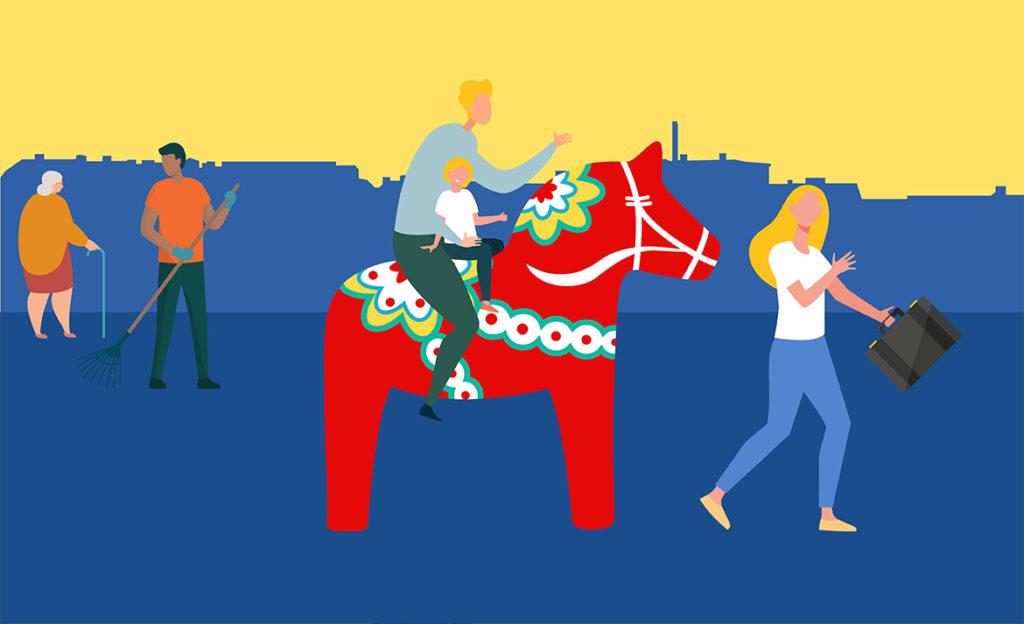 Kuvassa vanhempi ja lapsi istuvat taalainmaanhevosen selässä ja toinen vanhempi kulkee edellä salkku kädessä. Taustalla on kaupungin siluetti ja iäkäs henkilö kävelykepin kanssa sekä tummaihoinen henkilö haravan kanssa.