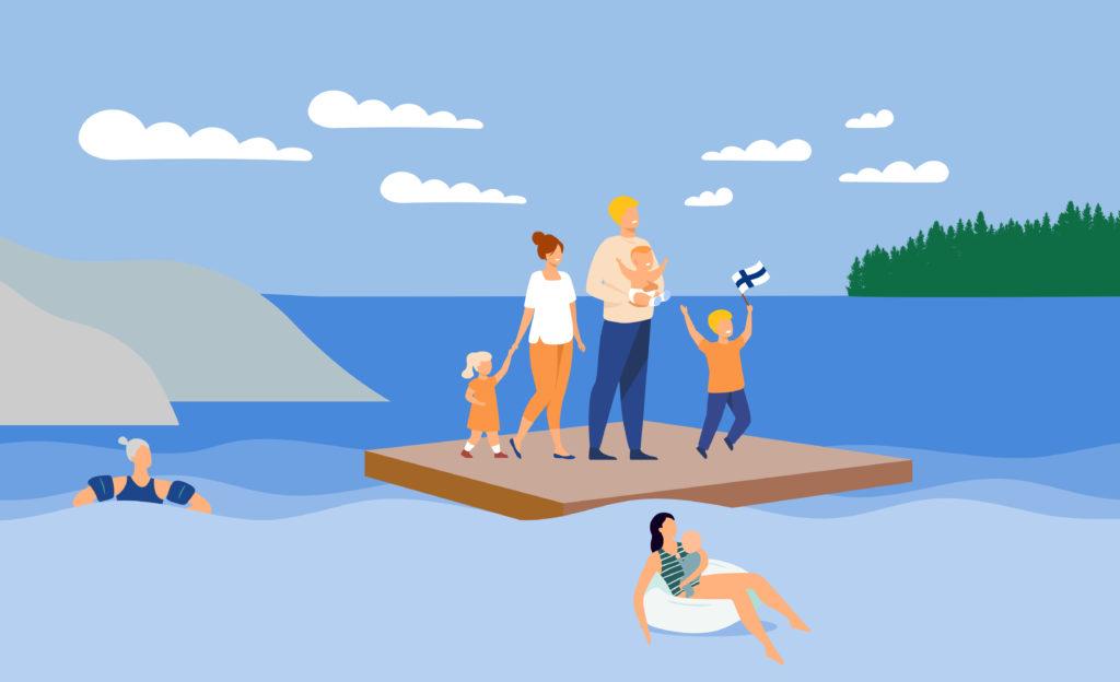 Kuvassa on järvimasemassa lautta, jolla kolmilapsinen perhe, yhdellä lapsella on Suomen lippu kädessä. Vedessä lautan ulkopuolella kelluu harmaahiuksinen henkilö ja henkilö vauva sylissä.