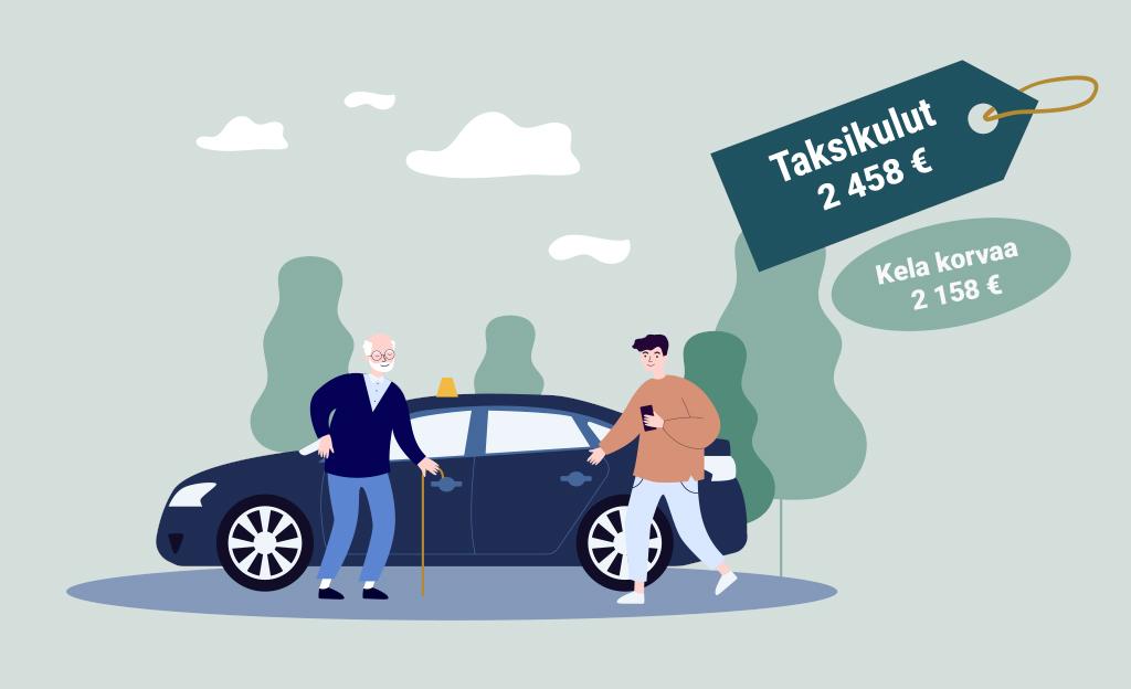 PIirroskuva, jossa vanha mies menossa kepin kanssa taksiin. Taksinkuljettaja on avaamassa tälle auton ovea.