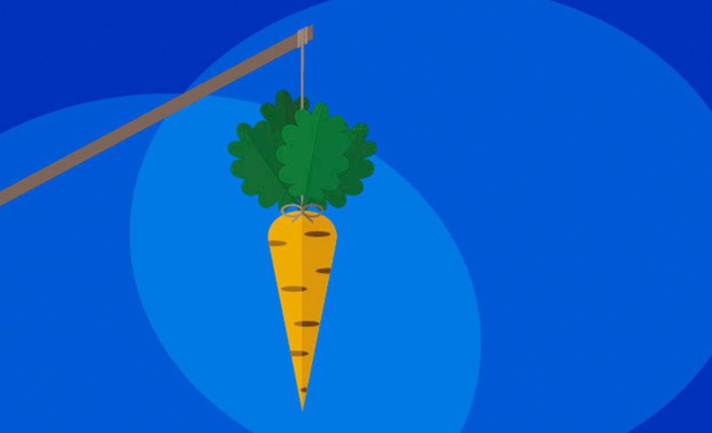 Piirroskuvassa kepin päässä heiluva porkkana