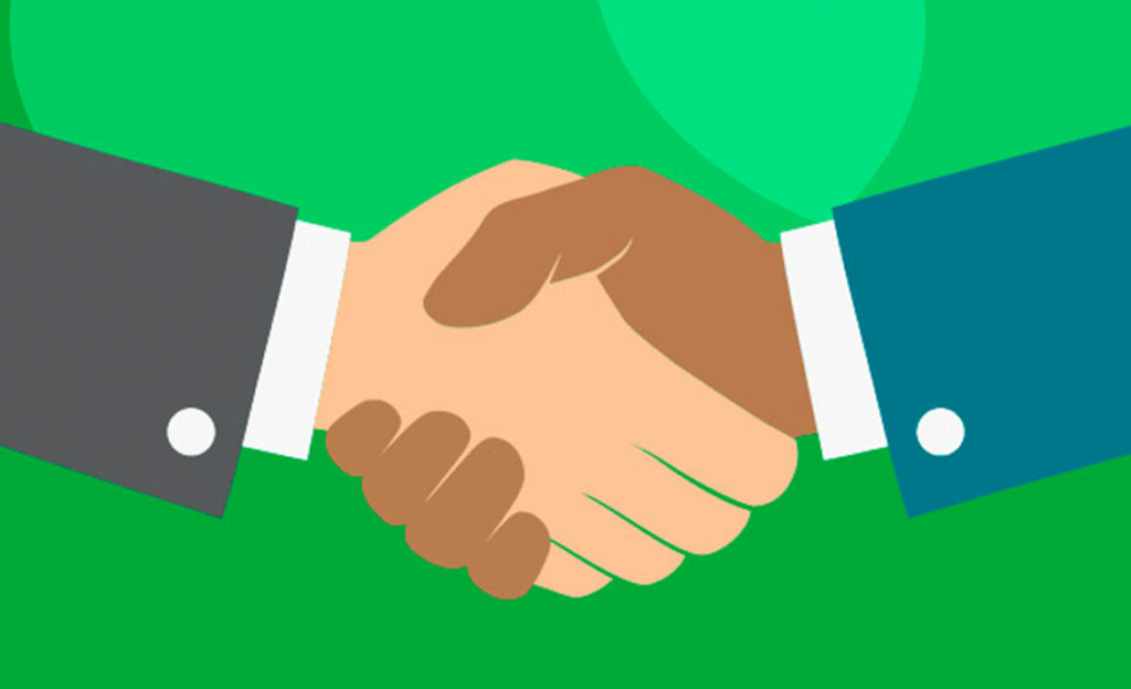 Piirroskuvassa kaksi kättä, jotka kättelevät toisiaan