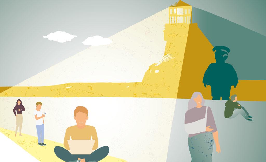 Piirroskuvassa majakka ja erilaisia ihmisiä. Majakka valaisee vain osaa henkilöistä, osa jää varjoon apean oloisina.